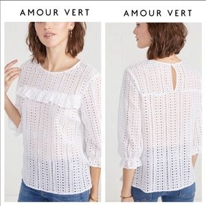 Amour Vert Gabrielle Eyelet Top in White